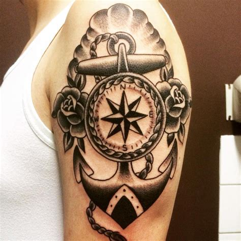 compass amp anchor arm tattoo