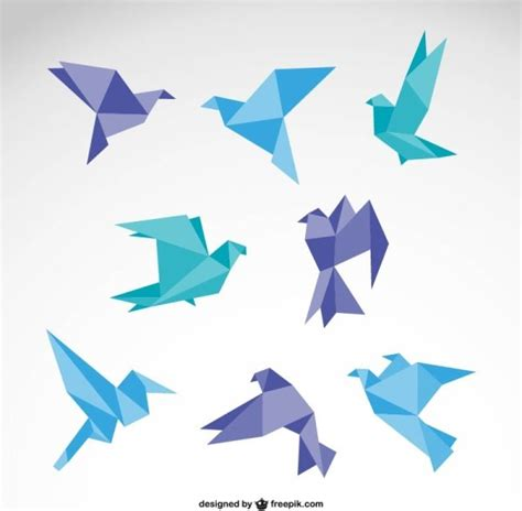 origami graphic design vector set of origami birds graphics free vector in adobe