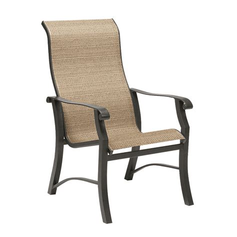 high chair patio furniture woodard cortland sling high back dining arm chair