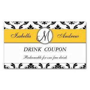 make cards coupon code damask yellow wedding free drink coupon card business card