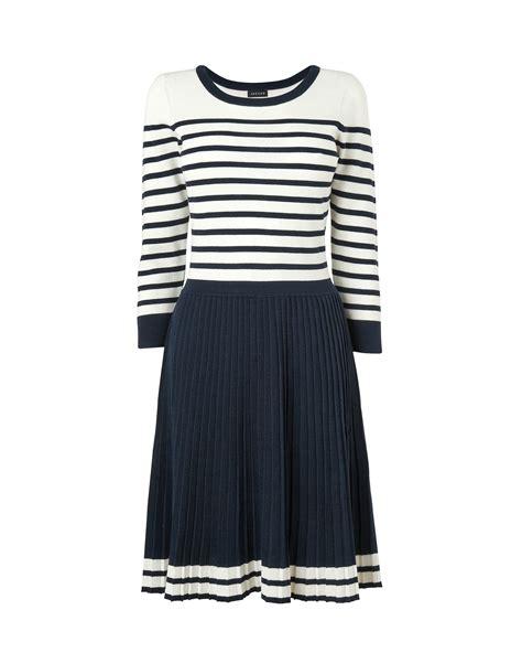 pleated knit dress jaeger breton pleated knit dress in blue navy lyst