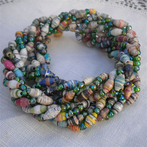 paper bead paper torsade necklace paper and jewelry