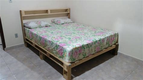how to build a bed frame out of wood diy pallet bed with headboard and lights 101 pallet ideas