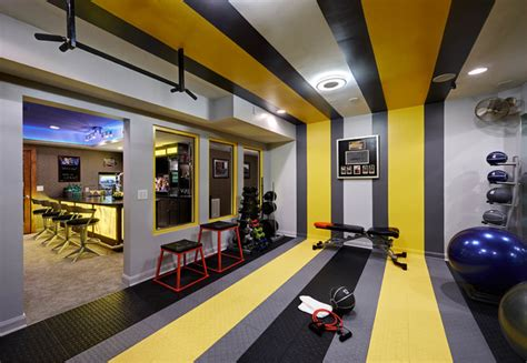 Directional Mirrors by Residential Basement Remodel Bar And Gym Contemporary