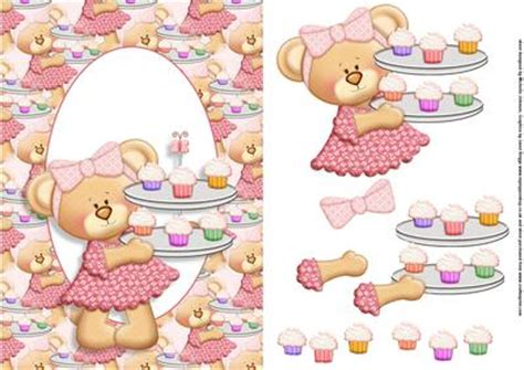 free decoupage downloads for card teddy cupcakes blank card front with decoupage
