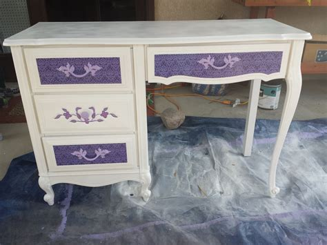how to decoupage furniture with paper hometalk desk makeoverwith spray paint and scrapbook paper