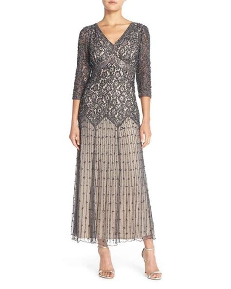 drop waist beaded dress pisarro nights gray beaded mesh drop waist dress lyst
