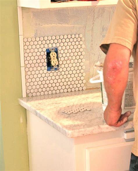 Installing A Tile Backsplash kitchen backsplash penny tile whipstitch