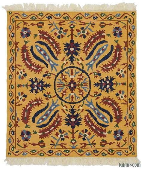 kilim rug k0021068 yellow new turkish kilim rug