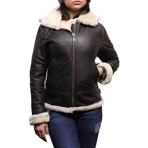 leather and shearling jacket s hooded aviator real shearling sheepskin flying leather jacket coat callie
