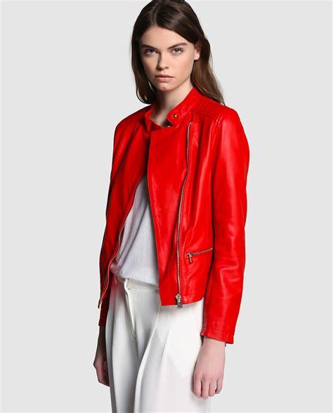 cazadoras de cuero mujer chaquetas de cuero para mujer rojas chaquetas de moda