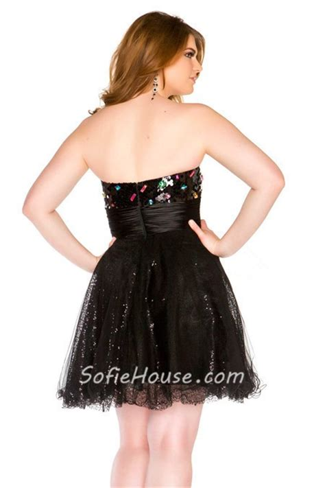plus size beaded cocktail dresses a line sweetheart black sequin beaded plus size