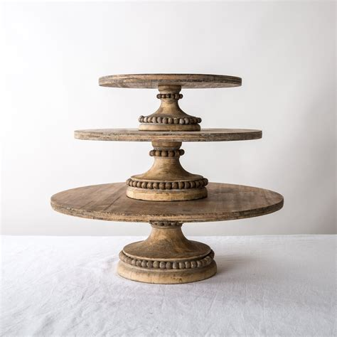 beaded cake stand wood beaded cake stands magnolia market chip joanna