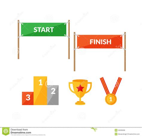start to finish sport competition flat icon set with start finish stock