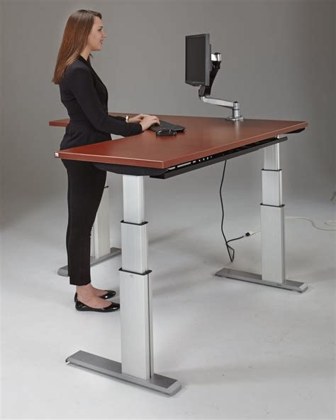 high desk for standing newheights corner height adjustable standing desk