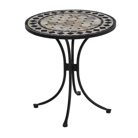 bistro patio tables home styles 28 in black and tile top patio