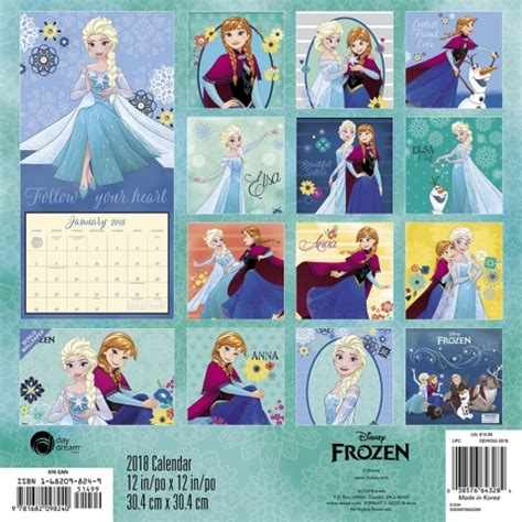 2018 disney princess wall calendar mead disney frozen wall calendar 9781682098240 calendars