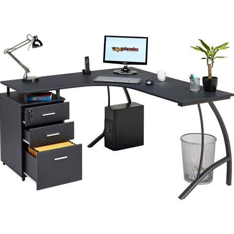 large black computer desk large corner computer desk a4 filing drawer for home