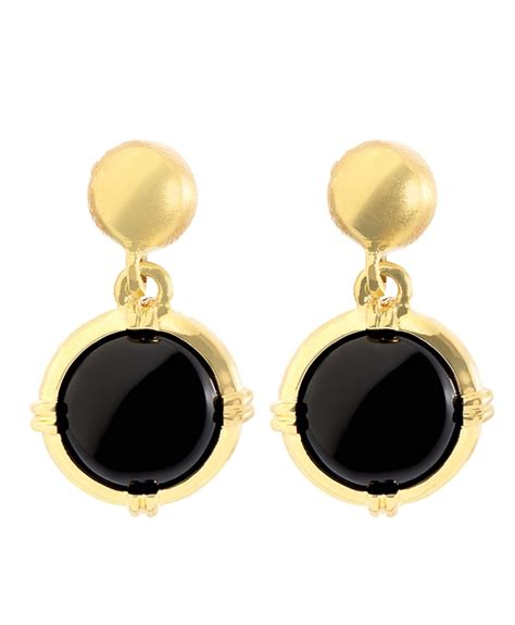 gold black earrings gold and black button drop earrings bb au ecommerce