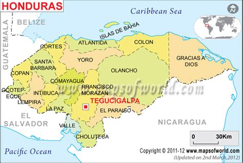 Political Map of Honduras   Honduras Departments Map