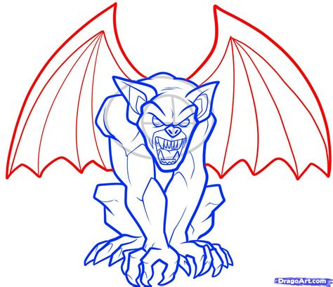 draw a how to draw a gargoyle step by step creatures monsters