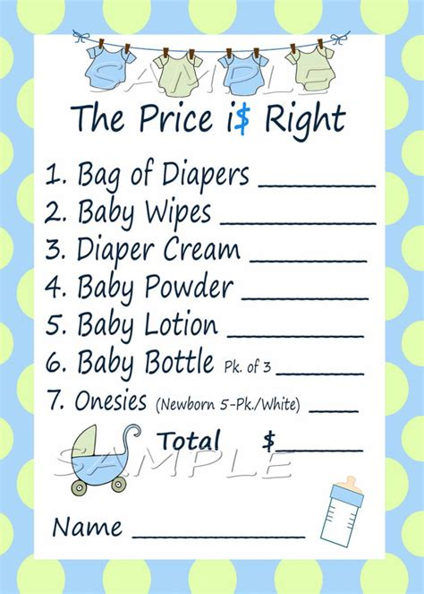 price is right baby shower game blue amp green by