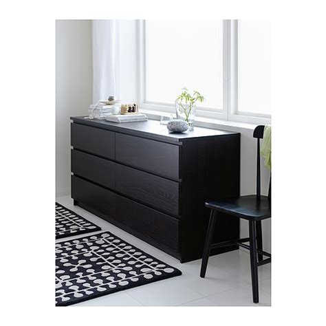 Skubb Ikea malm chest of 6 drawers black brown 160x78 cm ikea