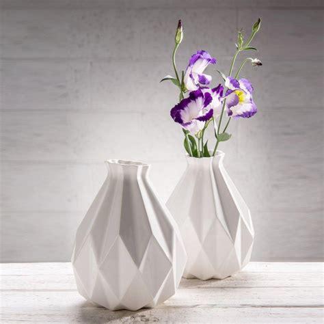 origami home decor geometric vase white ceramic origami inspired gift idea