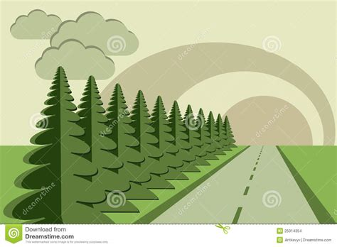 paper craft tree road fir trees sky papercraft stock vector image 25014354