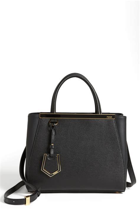 fendi 2jours elite leather shopper fendi petit 2jours elite leather shopper in black lyst