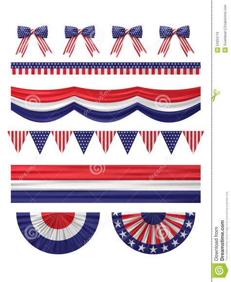 usa decorations usa independence day decoration borders set stock