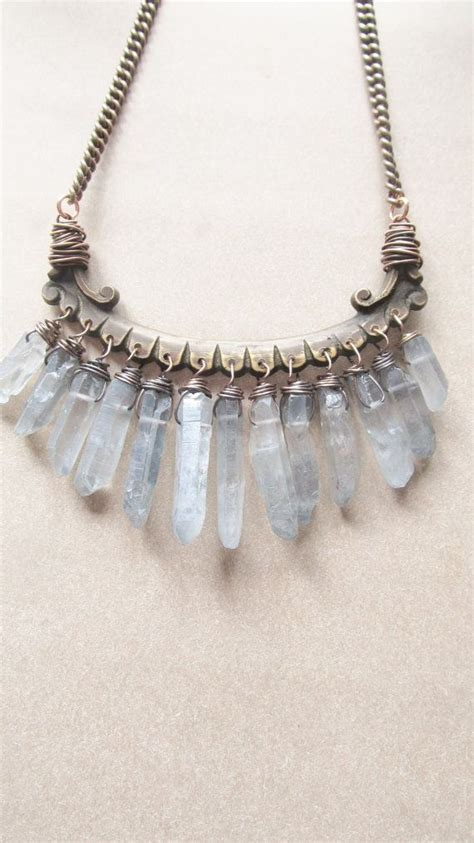 crystals for jewelry quartz bib necklace wire wrap points rustic