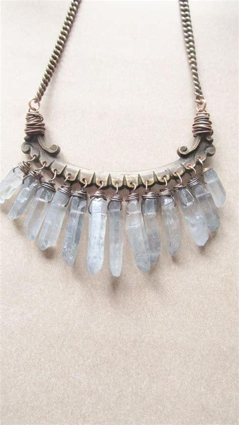 crystals jewelry quartz bib necklace wire wrap points rustic