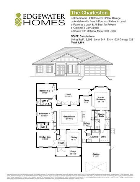 charleston homes floor plans the charleston edgewater homes custom floorplan