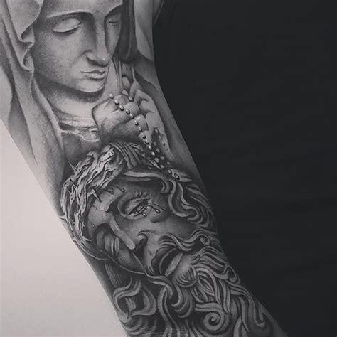 saint mary and jesus tattoo on arm