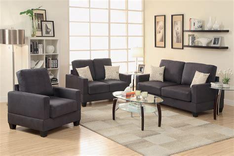 living room 3 sets 3 black miro fiber suede sofa set