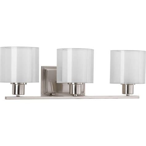 home depot bathroom lighting brushed nickel progress lighting invite collection 3 light brushed nickel