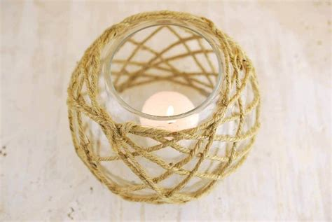 Glass Candle Holder With Rope by Glass Candle Holder With Rope 6 25in