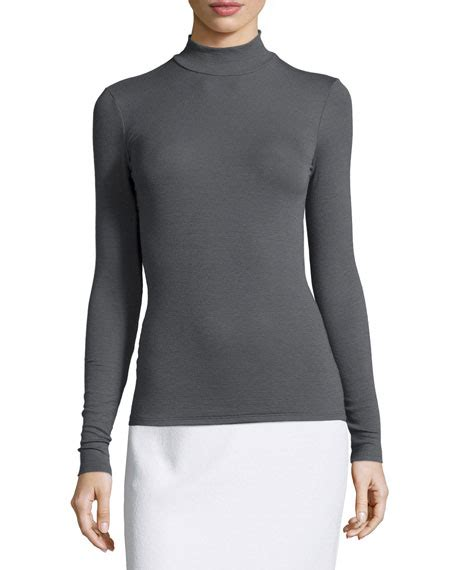 fitted knit top atm anthony melillo mock neck fitted knit top