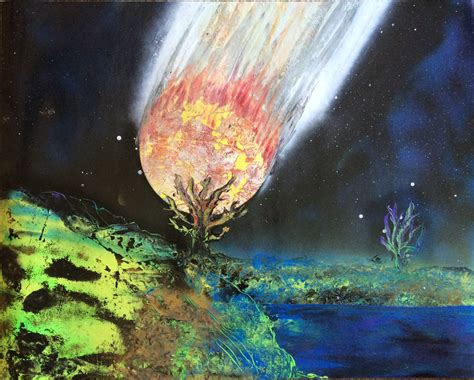 glow in the painting tree 22 x 28 spray paint meteor destroying