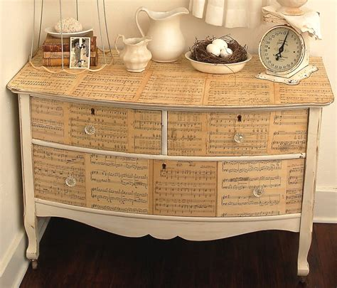 decoupage dressers dishfunctional designs upcycled sheet crafts