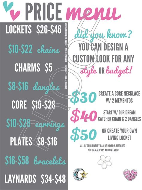 origami owl bracelet price price menu w 50 designs jewelry bar graphic