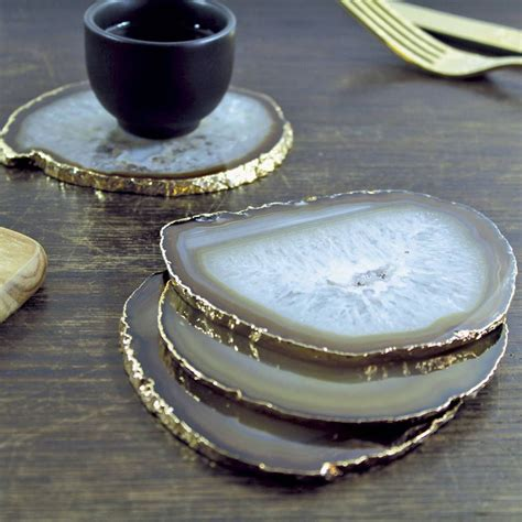 home decor stones gold plated agate coasters set of two agate