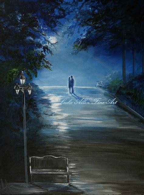 acrylic painting moonlight painting hugging