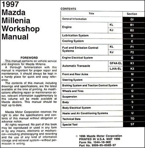 free online auto service manuals 1997 mazda millenia electronic throttle control 1997 mazda millenia repair shop manual original