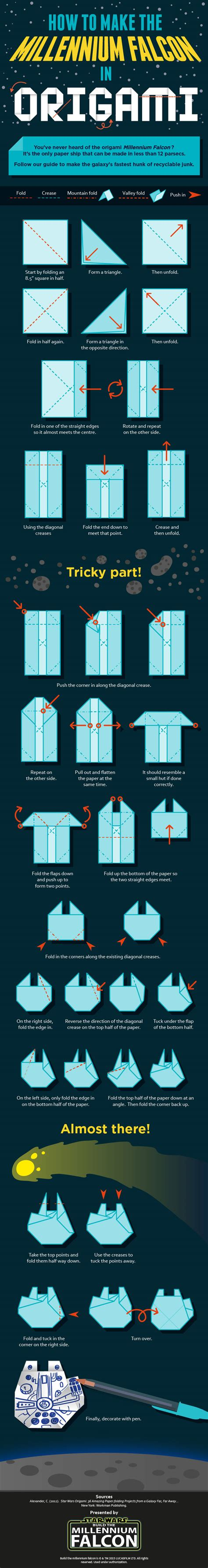 millennium falcon origami build your own millennium falcon origami mightymega