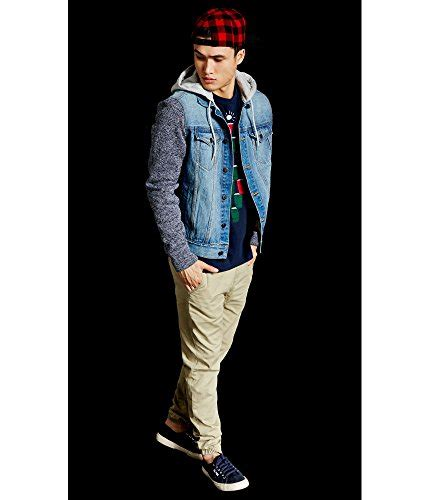 knit sleeve hooded denim jacket aeropostale s hooded knit sleeve denim jacket in the