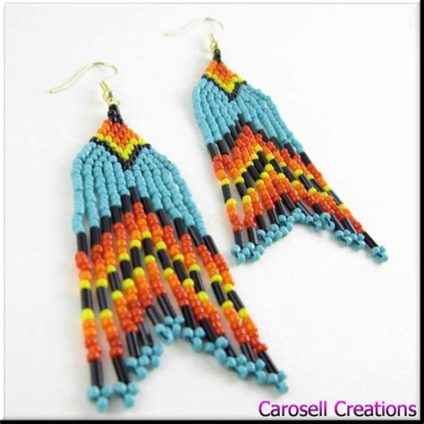 how to bead american style american style turquoise seed bead earring by