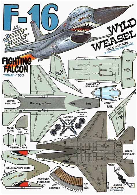 paper craft aeroplane f 16 fighting falcon http www