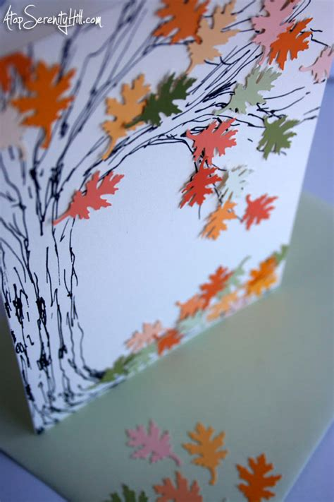 how to make greeting cards with leaves falling leaves greeting card atop serenity hill
